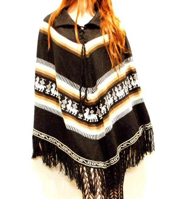 Vintage Mexican Poncho w/ Fun Camel Design by NoteworthyGarments,I totally need a pancho!