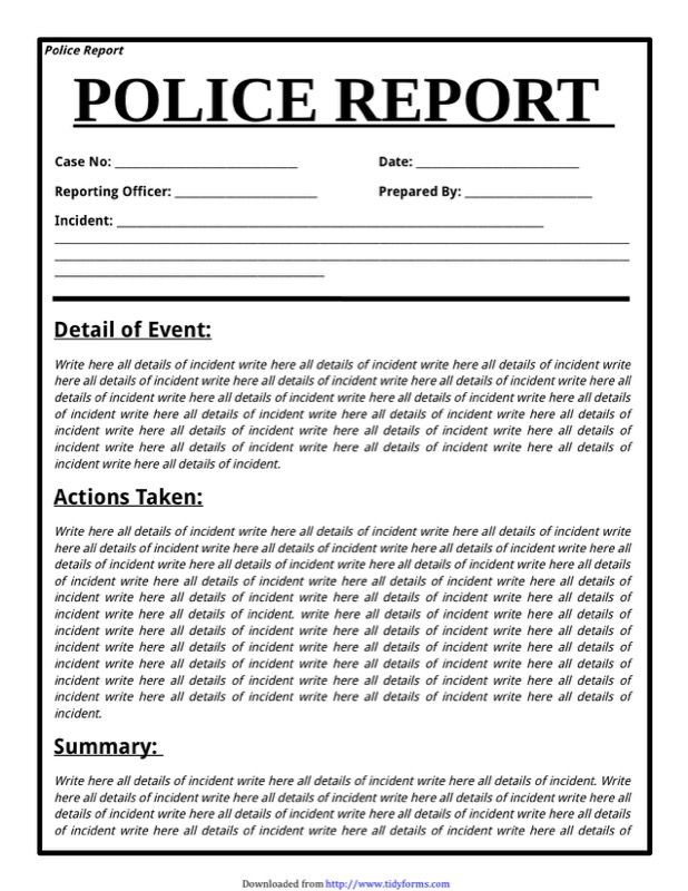 Police Report Template - Developing a template might be a very good - Summary Report Template