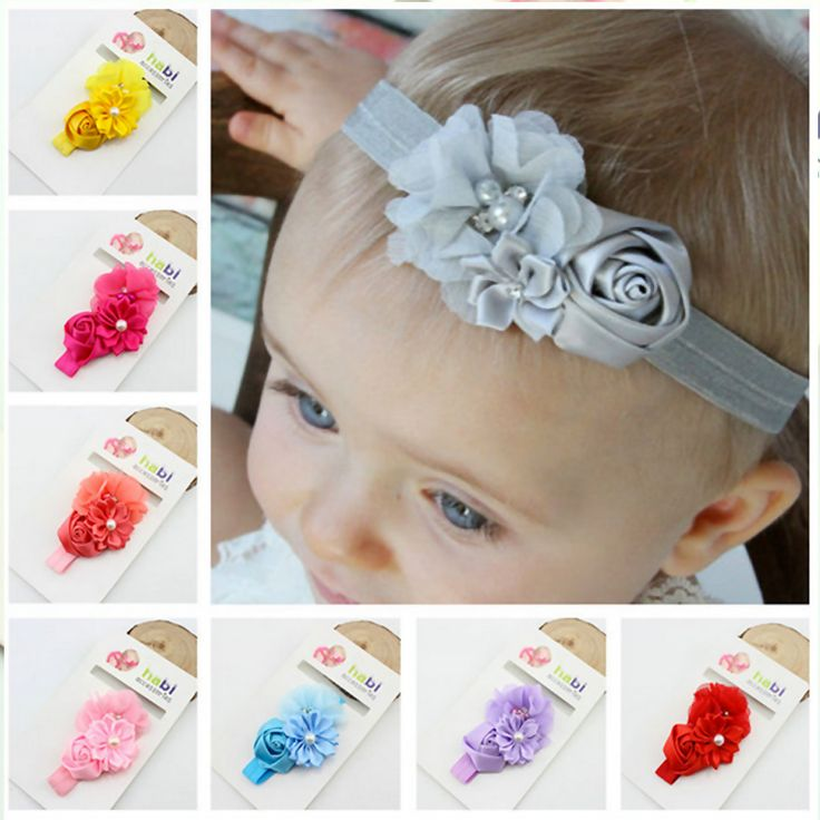 F90 Free Shipping Sales Children With Hand Sewing Drill Flower Newborn Hair Band Baby Hair Accessories Wholesale