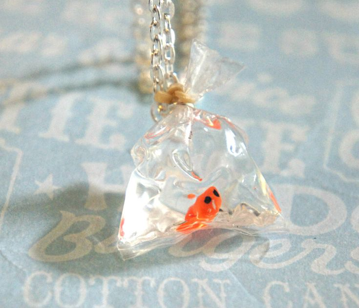 Goldfish in a bag necklace goldfish bag and disney jewelry for Fish in a bag