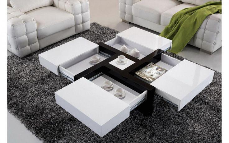 Table basse carrée noir et blanc laqué - Comforium
