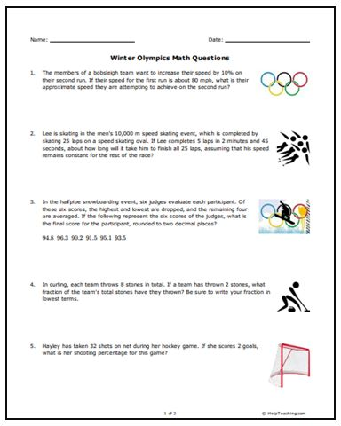 free winter olympics math word problems for middle school. Black Bedroom Furniture Sets. Home Design Ideas
