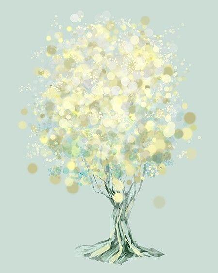 Modern Tree Art  Yellow Green  Lemon Bubble Tree  by papermoth, $18.00