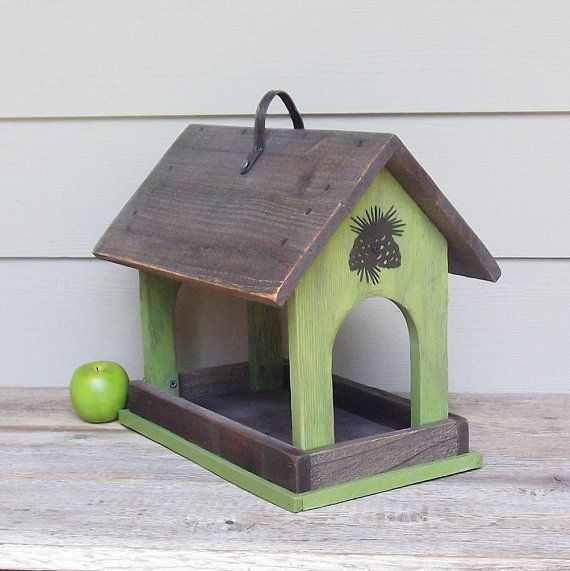 Rustic Wood Bird Feeder, Lime Green Covered Bird Feeder, Primitive Bird Feeder, Reclaimed Wood, Recycled Hardware, Pinecone Hardware on Etsy, $49.00