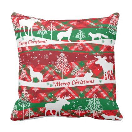 Christmas animals red Scottish tartan Throw Pillow - animal gift ideas animals and pets diy customize