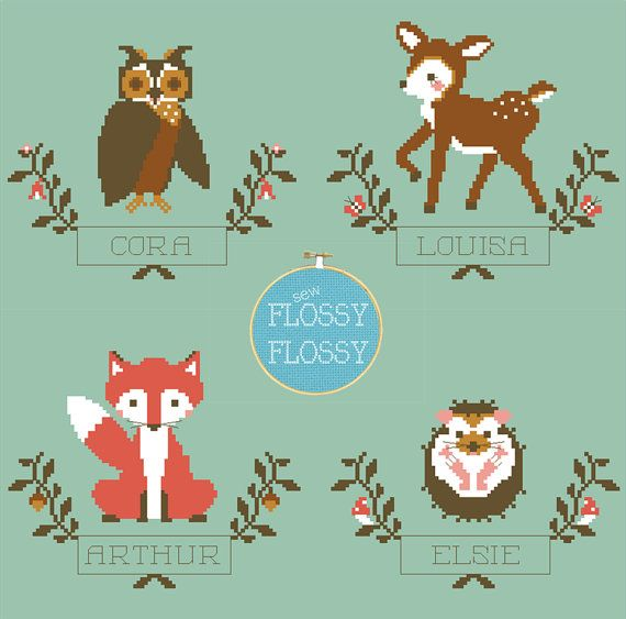 This Sew Flossy Flossy counted cross stitch pattern features the Woodland Animal series (owl, fawn, fox, and hedgehog) - each animal nestled