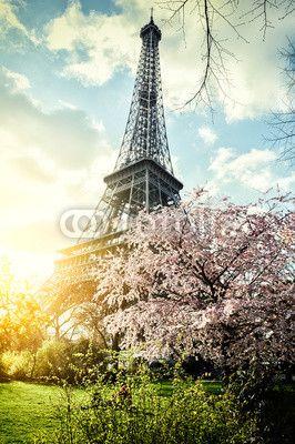mata magnetyczna Wiosna w Paryżu. Wieża Eiffla
