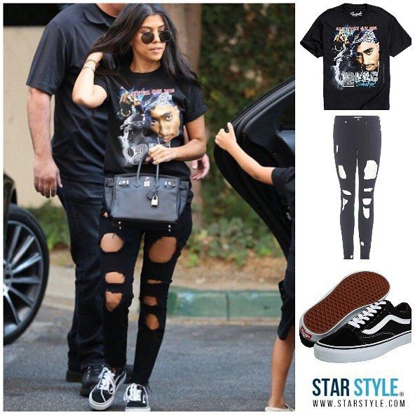 Kourtney wearing a Bravado shirt Good American jeans and Vans Shopping info on www.starstyle.com #kourtneykardashian #goodamerican #bravado #urbanoutfitters #vans #2pac #kuwtk #starstyle #celebritystyle #celebrityfashion #style #kourtney #kardashian #fashion #fashionblog #styleblog