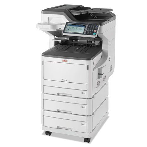 Okidata MC873DNX Color Multifunction Laser Printer, Copy/Fax/Print/Scan - BMC-OKI 62445303. Machine Functions : Copy, Fax, Print, Scan; Printer Type : Laser; Maximum Print Speed (Black) : 35 ppm; Maximum Print Speed (Color) : 35 ppm; Network Ready : Yes; Print Resolution (Color/Black) (Width x Height) : 1200 x 600 dpi. Fax Resolution (Color/Black) (Width x Height) : 300 x 300 dpi; Copying Speed (Color/Black) : 35 cpm; Fax Transmission Speed : 33.6 kb/s; Accepts Paper Size : Legal, Letter...