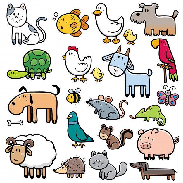 Conjunto De Animales De Dibujos Animados Vector Premium Animales Animados Para Dibujar Animales Faciles De Dibujar Imagenes De Animalitos Animados