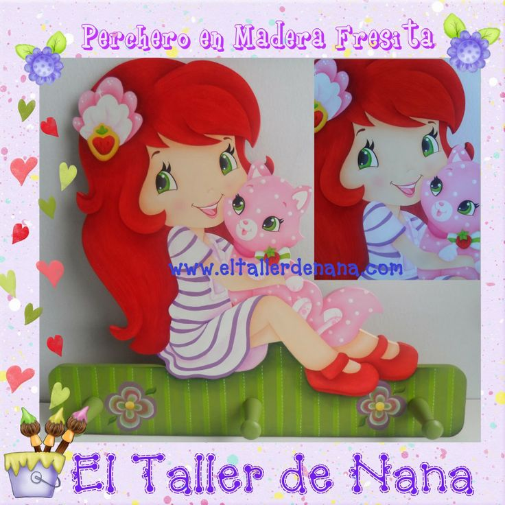 Perchero en MDF, pintura Country Strawberry Shortcake(Fresita)