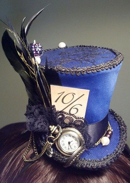 Alice in Wonderland Mini top hat  handmade Mad Hatter style with working pocketwatch by SweetIntentions4U on etsy