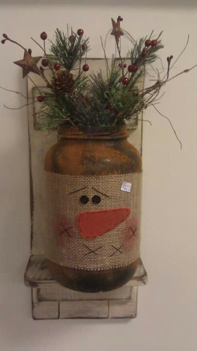 Snowman christmas crafts pinterest for Snowman made out of burlap