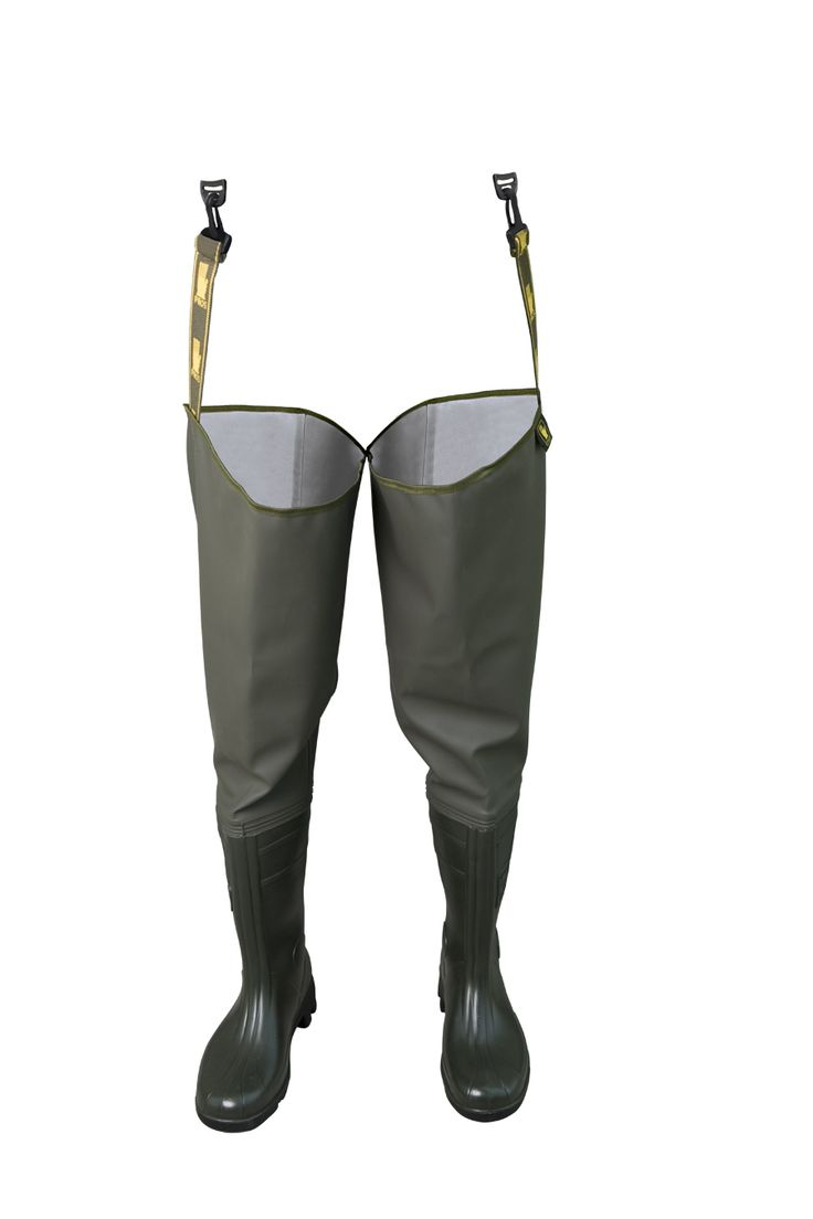 WATERPROOF PROTECTIVE THIGH WADERS Model: WRC02 The thigh waders have been produced with high quality PVC boots welded in. The boots have been tested for slip resistance on ceramic floor with sodium lauryl sulphate solution (NaLS) and on steel floor with glycerol - protection type OB FO E SRC. The thigh waders have been made on waterproof strong fabric Plavitex Heavy Duty. It's a good protection against water. High frequency welding makes seams stronger. The thigh waders conform to EN ISO…