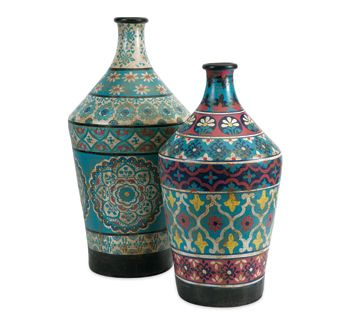 Made in India, the Kabir hand-painted vases by Imax present intricate medallions and global-inspired floral motifs in vivid turquoise, indigo, red and yellow.