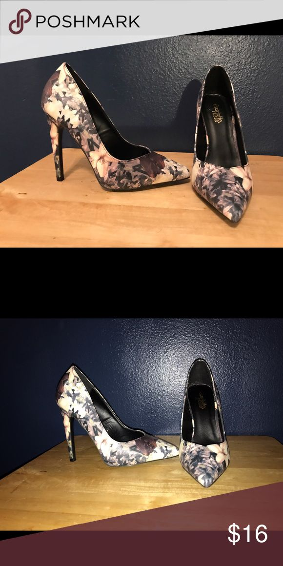 Charlotte Rouse pumps. Dark plum, gray, navy blue pumps in a floral print. Worn once! Shoes Heels