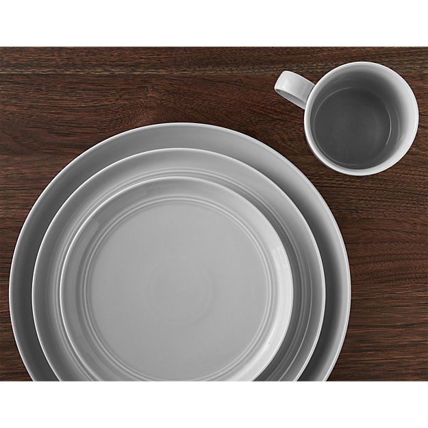 Shop Hue Light Grey Dinner Plate.  Our fresh, contemporary porcelain pattern from designer Aaron Probyn tells a mix 'n' match color story, hand-glazed in seven soft, soothing hues.