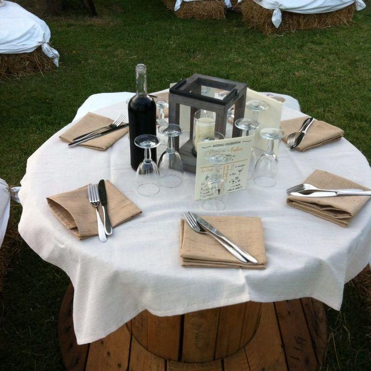 Country wedding table! ( tavoli fatti con bobine per cavi elettrici)
