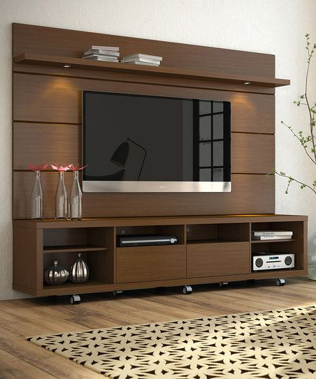 manhattan comfort nut brown cabrini 2 2 tv stand panel zulily sheetal pinterest meuble. Black Bedroom Furniture Sets. Home Design Ideas