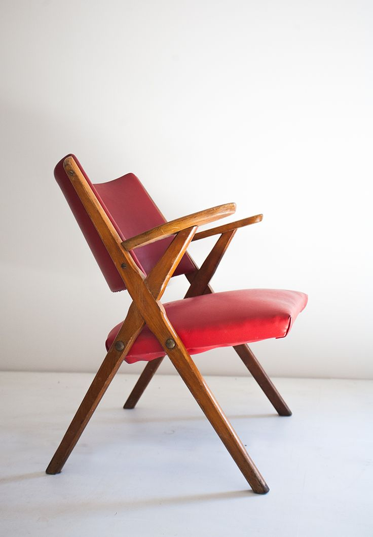 Anonymous Beech And Vinyl Armchair By Vera 1950s 0