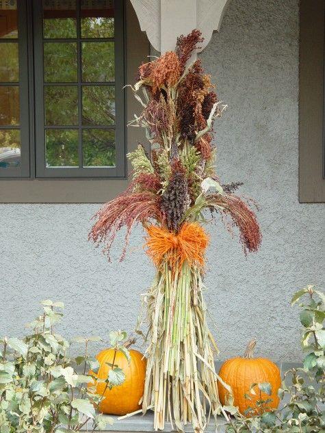 Broom corn fall porch arrangement