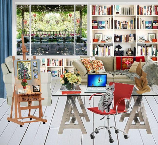 Sedia rossa con gatto collage virtuale di Mirella Parer