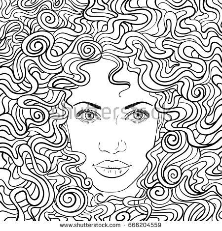 Vector illustration of woman with perfect beautiful face and curly hair filling entire square page background, Hand drawn outline, Can be used for adult coloring book