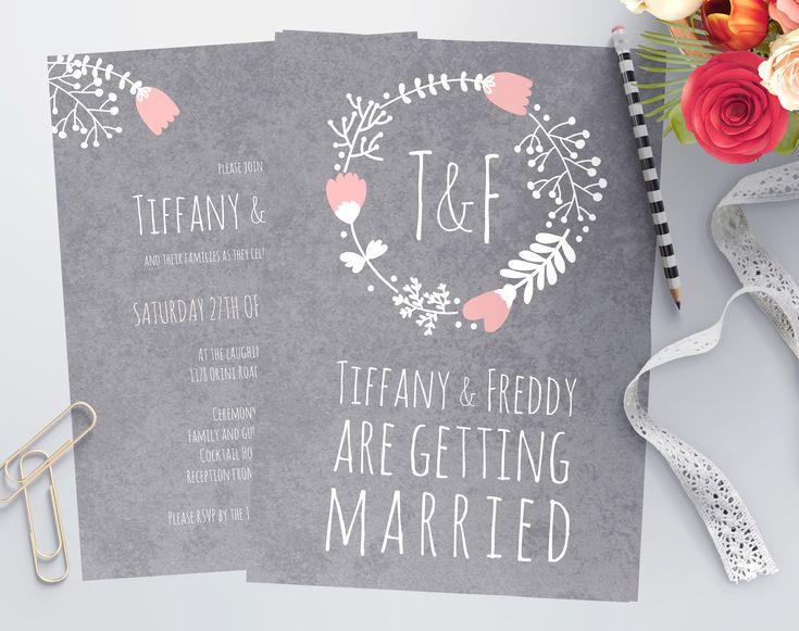 Blush and Grey Wedding Invitations designed by Imagine If Creative Studios