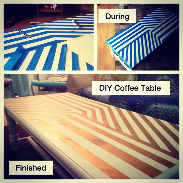 DIY Coffee Table: Painters Tape, Gold Spray Paint, And Paint Sealer.