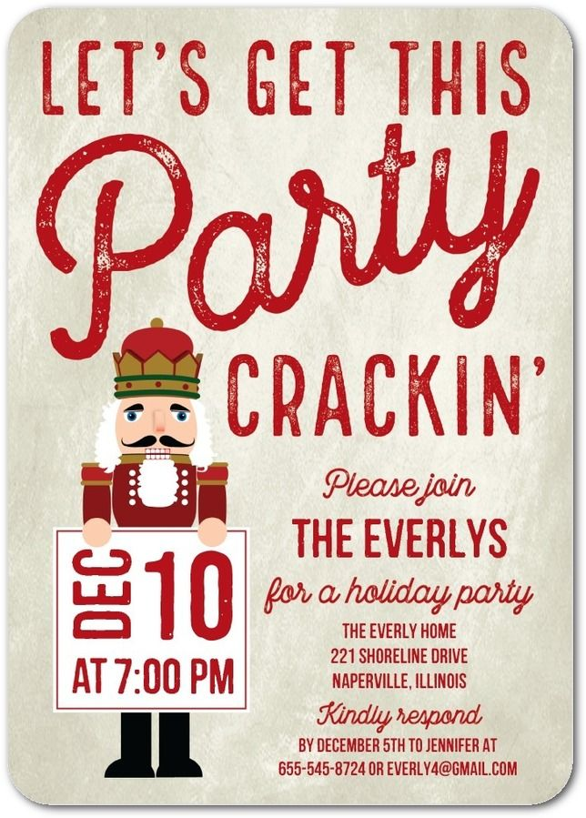 Crackin Party Flat Holiday Party Invitations In