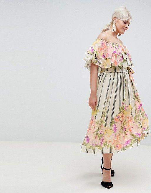 70a023f21d ASOS Curve | ASOS DESIGN Curve ruffle top bandeau midi dress in floral  stripe print