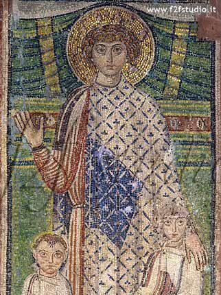 Basilica di San Demetrio, Salonicco, Greccia. Il mosaico del VII secolo. San Demetrio con i bambini. 620 circa