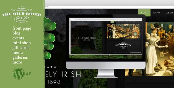 "The Wild Rover–WP Theme For Irish Pubs   http://themeforest.net/item/the-wild-roverwp-theme-for-irish-pubs/7799908?ref=damiamio       ""The Wild Rover"" is fully extended theme for Irish pubs. It includes multiple page templates which meet any pub website needs. Design is classy-traditional: two columns, green-orange-dark colours, mix of plain colours and vintage style graphics.  	 Demo site demonstrates full range of posts and pages templates which are available in the theme.  	 Detailed…"