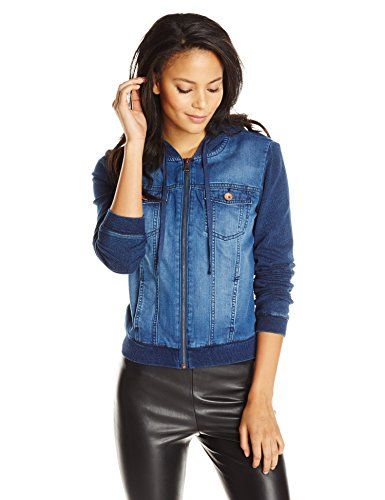 Kensie Jeans Women's Denim/Knit Combo Zip Up Hoodie, Electric Youth, Small