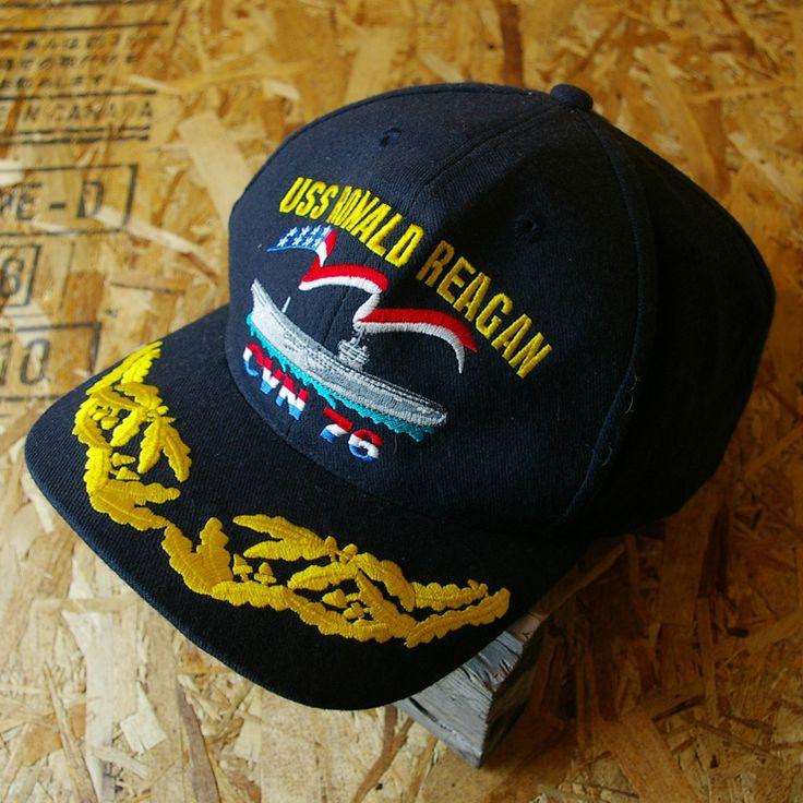 【USS RONALD REAGAN】古着USA製ネイビーロナルド・レーガンCVN76キャップ
