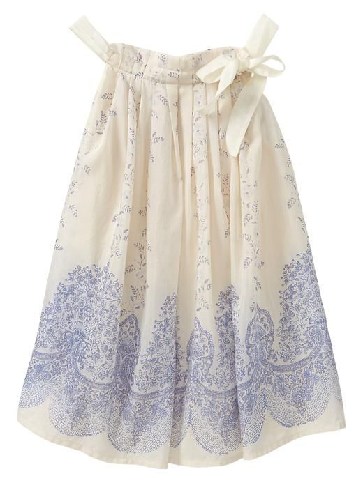 Baby Gap 2014 Printed Bow Dress in Off White