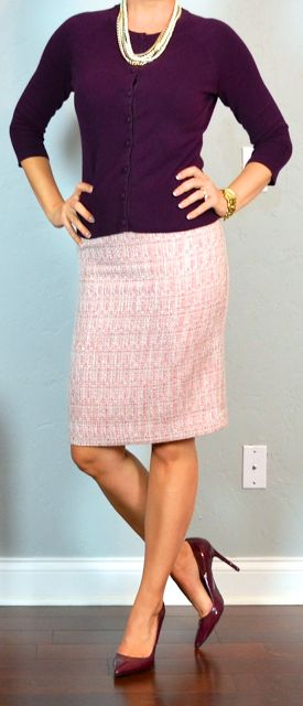 Outfit Posts: outfit post: burgundy cardigan, pink tweed skirt, burgundy pumps