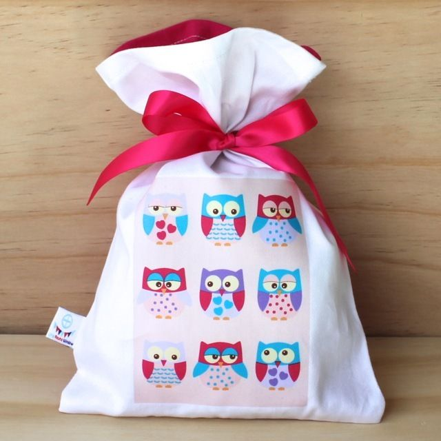 Sweet Pink Owls Cotton Party Bag
