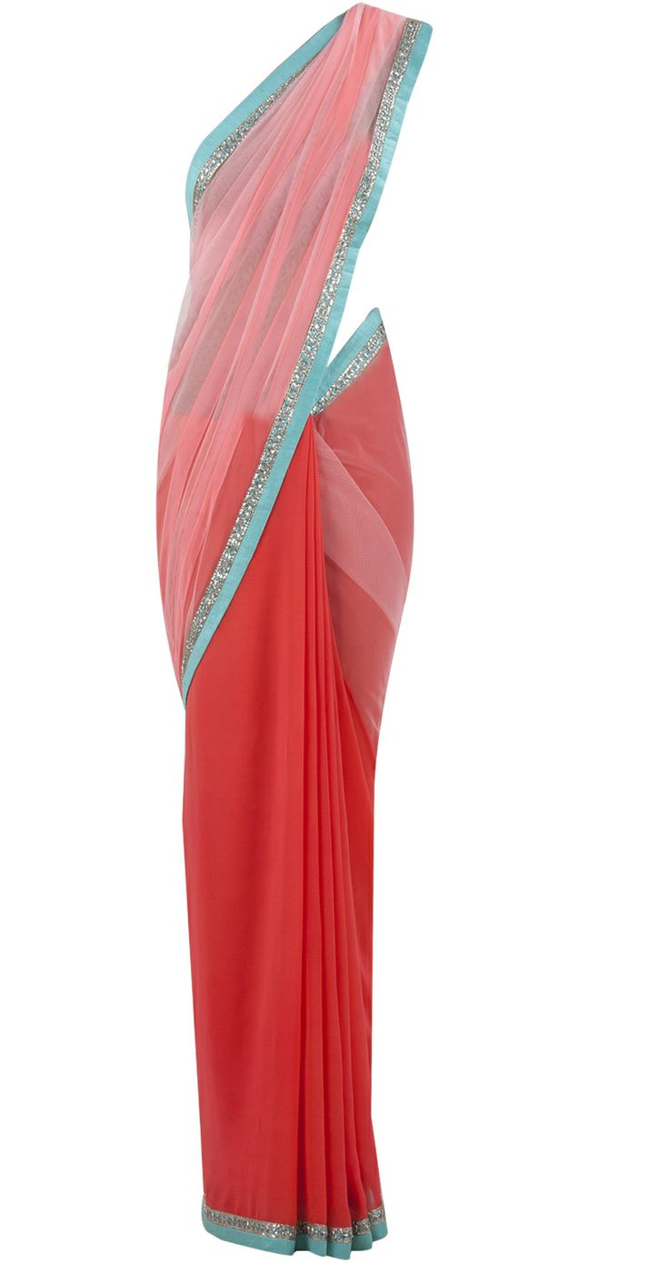 Coral and pink patched net sari by MANISH MALHOTRA. Shop at https://www.perniaspopupshop.com/whats-new/manish-malhotra-5980