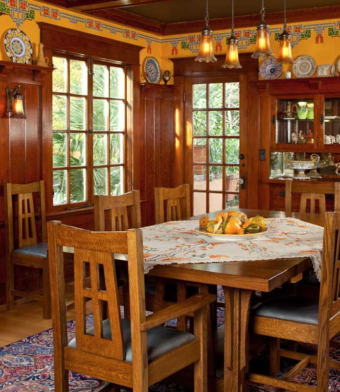 Another room in Arts & Crafts Homes   magazine that featured a Craftsman in Portland, Oregon.  Shellacked woodwork and warm colors featured, in the stenciling above the high wainscot, are brilliant in the sunlit rooms.