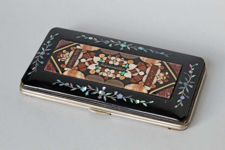 Case for cigarettes with a mosaic of aragonite , leather, souvenir from Karlovy Vary , (Karlsbad) circa 1890 - 1910, Czech. rep.