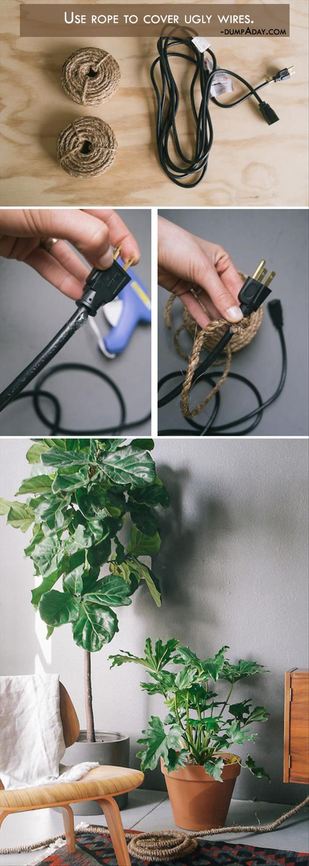 Wrap the cords in twine: Covers Cords, Crafts Ideas, Electric Cords, Covers Wire, Wire Covers, Great Ideas, Life Hacks, Wraps Wire, Wraps Cords