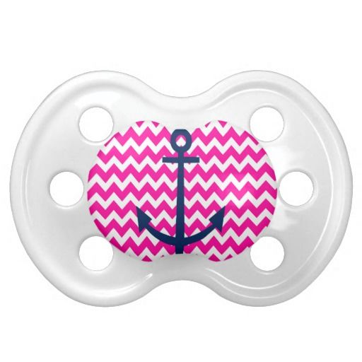 Pink and white chevron with navy anchor nautical pacifier