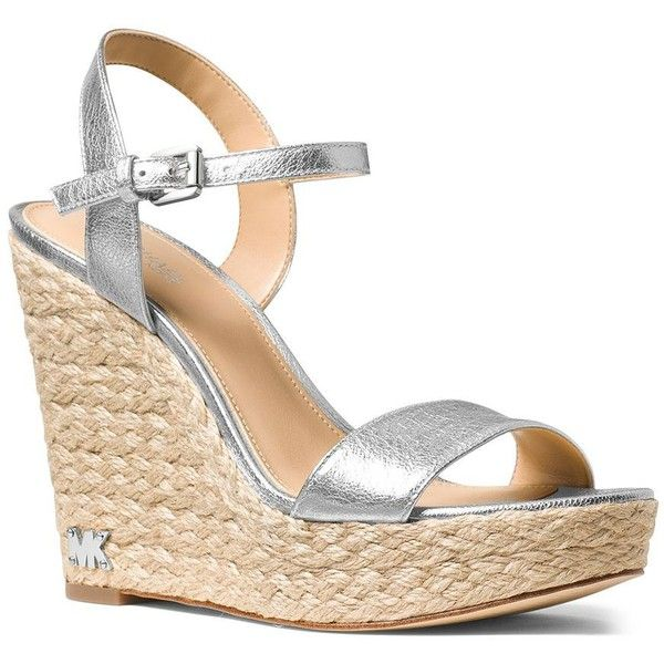 Michael Michael Kors Jill Espadrille Wedges ($135) ❤ liked on Polyvore featuring shoes, sandals, silver, silver wedge sandals, espadrille sandals, silver platform sandals, ankle strap wedge sandals and silver sandals