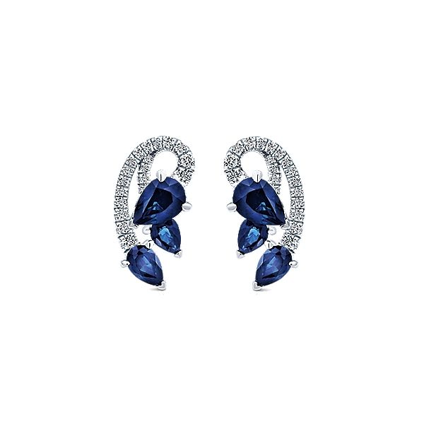 14k White Gold Diamond And Sapphire Stud Earrings - Gabriel & Co.