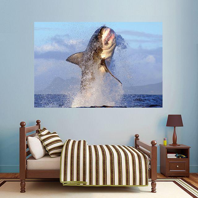 Great White Shark   Breaching REAL.BIG. Fathead U2013 Peel U0026 Stick Wall Graphic