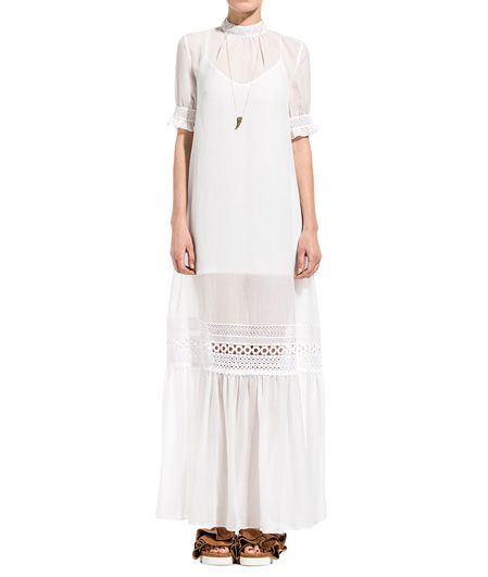 WHITELONG DRESS WITH EMBROIDERY-White turtleneck short sleeve long dress. Color matched cotton thread embroidery at collar sleeves and flounce. Concealed zipper closure at back. Color-matched spaghetti strap slip. COMPOSITION: 100% POLYESTER embroidery 100% COTTON lining 95% POLYESTER 5% ELASTANE. Model wears size 38 she is 182 cm tall and weighs 60 Kg.