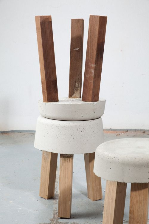 cement + wood: side tables, stools