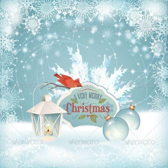 Xmas Bird Lantern Christmas Balls Background - Christmas Seasons/Holidays