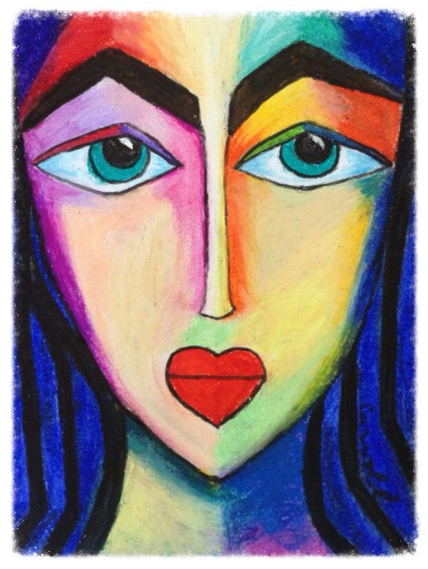 Semi abstract oil pastel painting Australian artist, cubism,